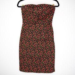 Vintage 1990s Pin Up Cherry Print Strapless Dress